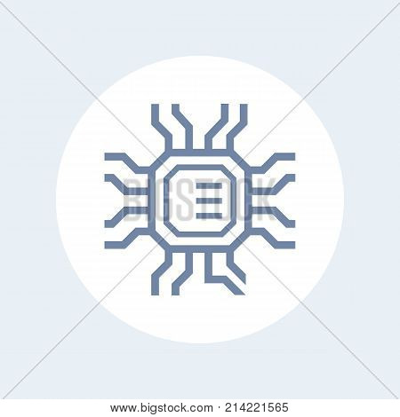 chipset, microchip, electronic circuit icon isolated on white