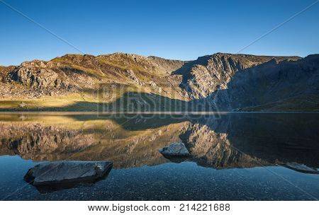 Crystal Clear Waters of Llyn idwal Lake in north Wales Snowdonia National Park UK