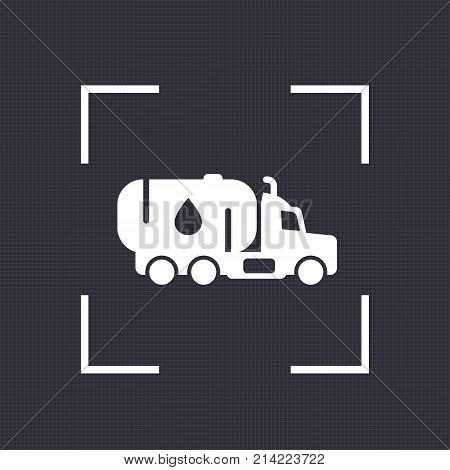 Gasoline tanker icon, truck with petroleum vector pictogram