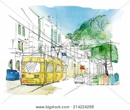 Sketch of the city landscape with a yellow trolley car traffic light and tanks for separate collection of garbage. Graphic arts. Raster illustration with elements of watercolor