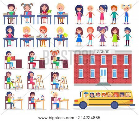 Children during lessons sit at desks, read books and ride in school bus. Educational institution and little pupils vector illustrations set.