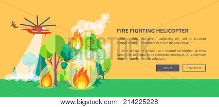 Firefighting helicopter web poster showing wildfire. Vector illustration of red-and-white helicopter trying to extinguish blazing forest against light brown backdrop