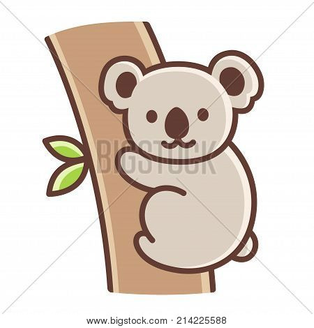 Cute cartoon koala on tree branch. Simple vector illustration isolated on white background.