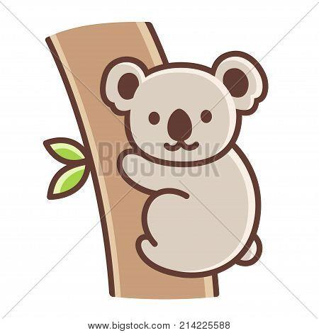 Cute cartoon koala on tree branch. Simple vector illustration isolated on white background.