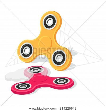 Forgotten fidget spinners covered in dust and cobwebs vector illustration. Short-lived craze dying fad.