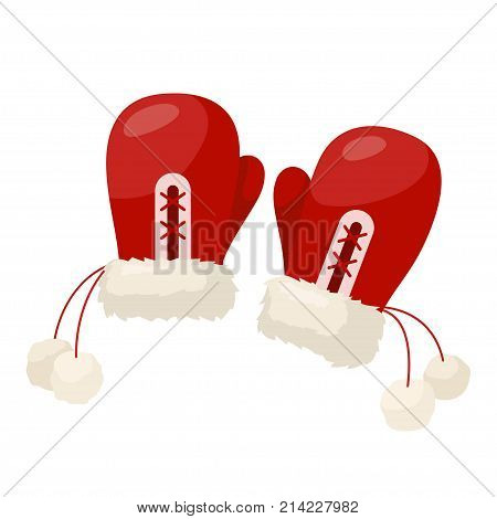 Winter mittens pair. Classic cold weather outdoor apparel, nice winter red wool mittens with white pompons. Vector flat style cartoon illustration isolated on blue background