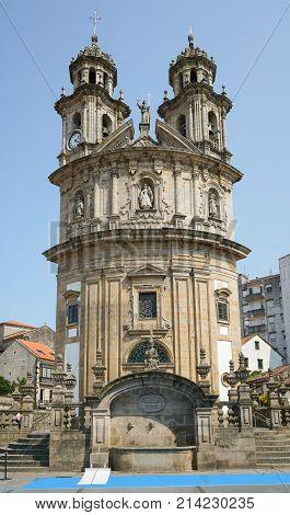 Beautiful Church of Virxe Peregrina, landmark of Pontevedra on the Camino de Santiago trail, Spain