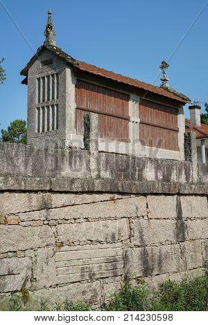 Traditional granary alongside the Camino de Santiago trail, Galicia, Spain
