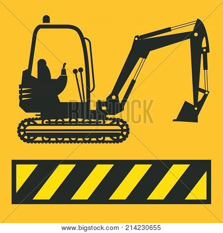 Tractor icon or sign on yellow background. Tractor grader excavator silhouette vector illustration