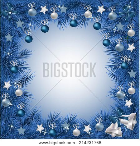 A traditional Christmas Garland made with festive decorations on a light blue background.Festive Holiday Background. Garland Border Made Of multiple decorations with cold colors.