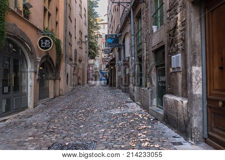 Lyon France--November 6 2017--A cobblestone side street in the old city section of Lyon. Editorial Use Only.