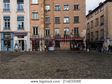 Lyon France--November 6 2017--Shops and Restaurants in the Old City section of Lyon. Editorial Use Only.