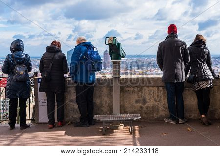 Lyon France--November 6 2017 --Tourists looking over the city of Lyon from an observation post. Editorial Use Only