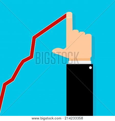 Business growth upward graph and human hand. Success growth and graph progress chart improvement. Vector illustration