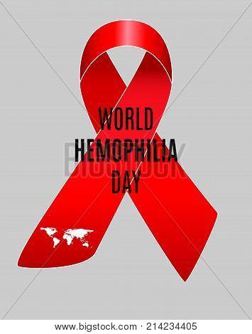 Realistic red ribbon world hemophilia day symbol. Vector illustration.