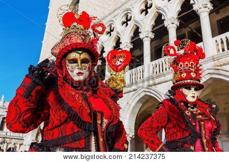 Disguised Women At The Carnival Of Venice