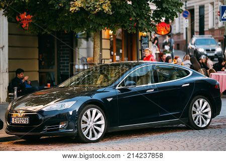 Vilnius, Lithuania - September 29, 2017: Tesla Model S Car In Motion On Street. The Tesla Model S Is A Full-sized All-electric Five-door, Luxury Liftback, Produced By Tesla Inc.
