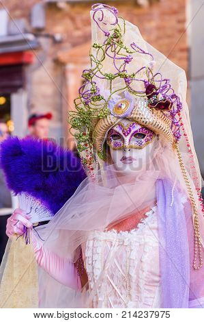 Disguised Woman At The Carnival Of Venice
