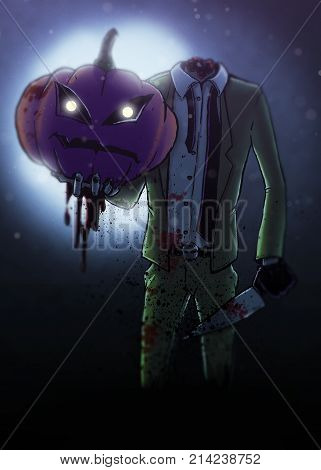 Headless body in suit with knife holding up a pumpkin head