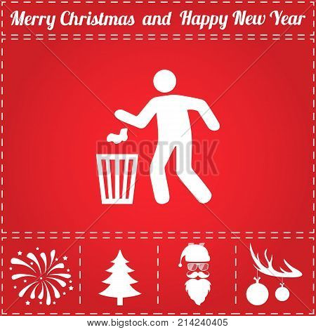 Trash bin Icon Vector. And bonus symbol for New Year - Santa Claus, Christmas Tree, Firework, Balls on deer antlers