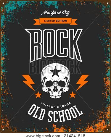Vintage rock vector t-shirt logo isolated on dark background. Premium quality skull logotype tee-shirt emblem illustration.New York City street wear legendary music style old retro tee print design.