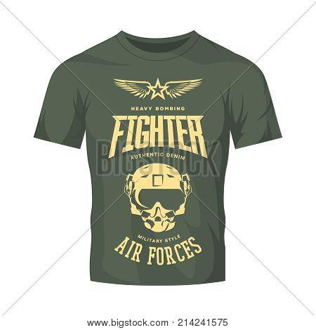 Vintage fighter pilot helmet vector logo isolated on khaki t-shirt mock up.Premium quality air force logotype t-shirt emblem illustration poster. Military street wear superior retro tee print design.