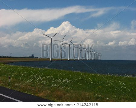 Wind mill in a sommer day on a sea