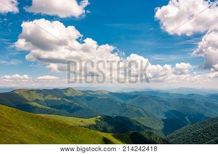 Carpathian Mountain Ridge Under Sky With Clouds