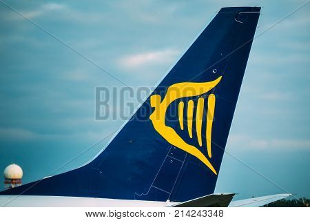 Vilnius, Lithuania - September 30, 2017: Logo Logotype Sign Of Irish Low-cost Airline Ryanair On Wing Of Airplane