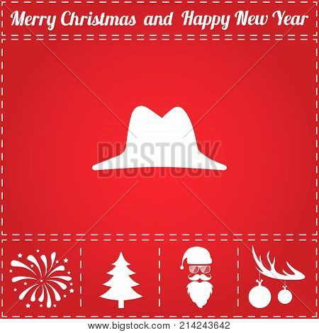 Hat Icon Vector. And bonus symbol for New Year - Santa Claus, Christmas Tree, Firework, Balls on deer antlers