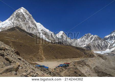 Gorak Shep village, Kala Patthar and mount Pumo Ri. Way to Everest base camp. Nepal