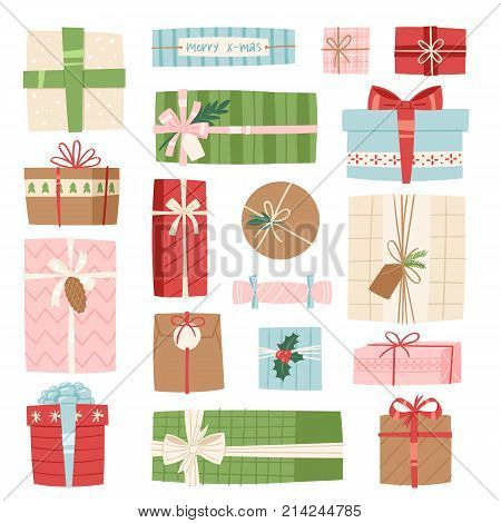 Gift box vector present packs Christmas or Birthday flat illustration celebration bow object isolated on white background. Surprise elegance birthday present.
