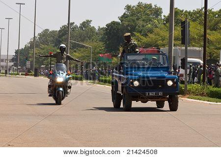 Motorycycle policemen at a military parade in Ouagadougou, Burkina Faso