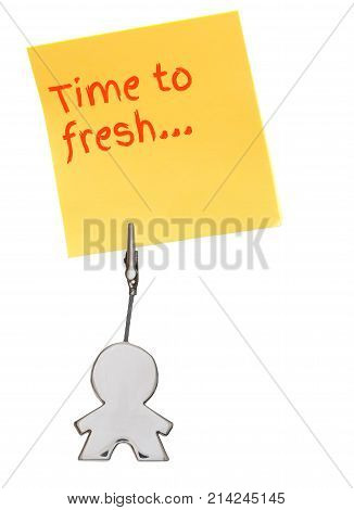 Orange sticker, paper note isolated on white, held by busines card holder figure, business concept, time to fresh