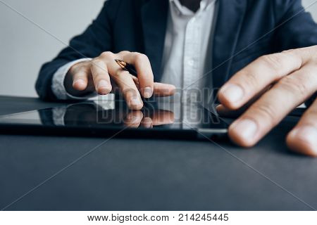Business man, business man with a tablet, business man with a pen.