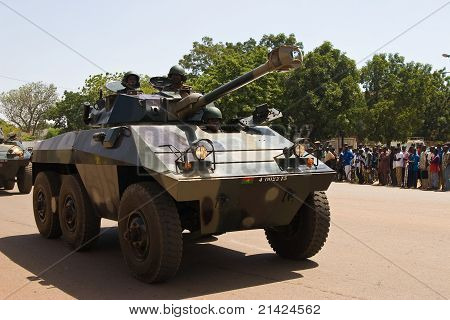 Armored personnel carrier at a military parade in Ouagadougou, Burkina Faso