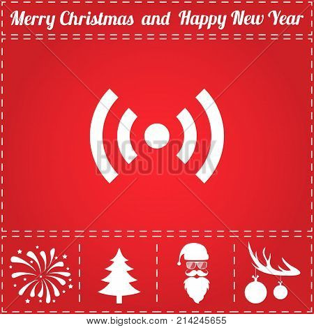 WiFi Icon Vector. And bonus symbol for New Year - Santa Claus, Christmas Tree, Firework, Balls on deer antlers