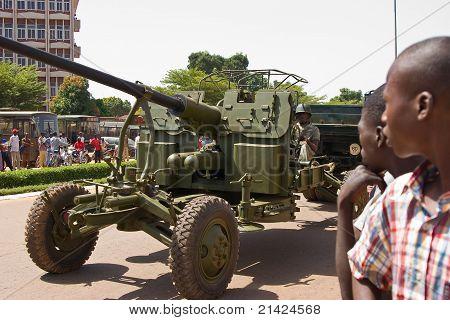 Artillery cannon at a military parade in Ouagadougou, Burkina Faso