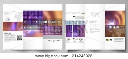 Tri-fold brochure business templates on both sides. Easy editable abstract vector layout in flat style. Bright color colorful design, beautiful futuristic background.
