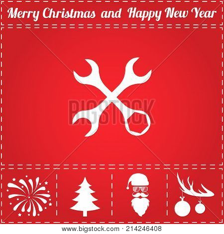 Repair Icon Vector. And bonus symbol for New Year - Santa Claus, Christmas Tree, Firework, Balls on deer antlers