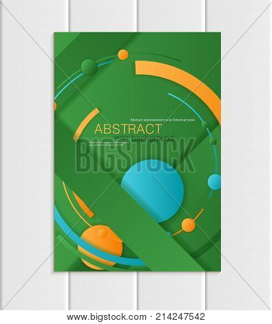 Stock vector brochure A5 or A4 format material design style. Design business template with abstract blue yellow round shapes on green background for printed material, element corporate style card cover