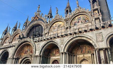 Cathedral of San Marco, Venice, Italy. Roof architecture details with golden details.