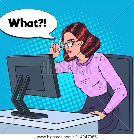 Pop Art Young Weak-Eyed Business Woman in Eyeglasses Working at the Computer. Vector illustration