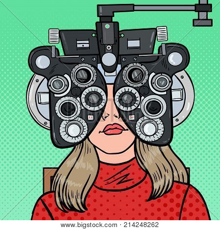 Pop Art Woman Patient at Optometric Clinic with Optical Phoropter. Eye Exam. Vector illustration