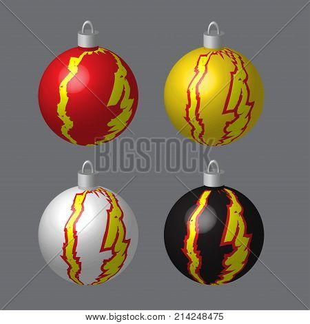Decorative Balls Blotted for Christmas Tree, Vector Illustration