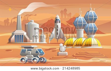 Human colonizators on Mars. Rover drives across the red planet near factory, greenhouse and spaceship.