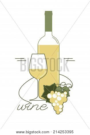 White wine. A bottle, a wine glass, a bunch of grapes with a leaf. Linear vector illustration for menu, tasting, wine list.