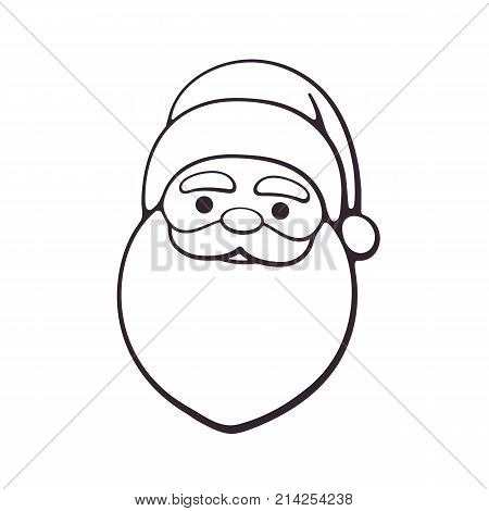 c65dd501c0d93 Vector illustration. Head of Santa Claus. Spirit of Christmas. Cartoon with  contour.