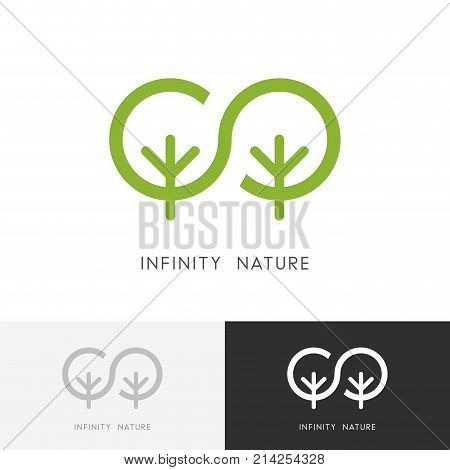 Infinity nature logo - two green trees and eternity of life symbol. Ecology and environment, garden, forest or park vector icon.