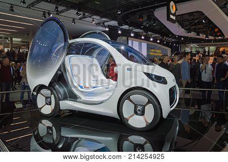 Frankfurt, Germany - Sep 17, 2017: Smart Vision Eq Fortwo, Autonomous Concept Car, At Iaa Frankfurt